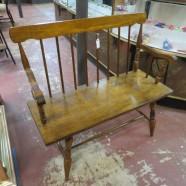 vintage antique Windsor mahogany bench c. 1950 – $285