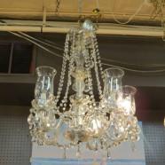 SALE! vintage antique five arm crystal chandelier c. 1930 – $400