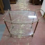 vintage mid century modern glass brass and wood bar cart c. 1960 – $185