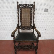 vintage antique victorian elaborately carved oak throne chair c. 1890 – $695