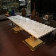 vintage mid century modern marble top coffee table c. 1960 – $295