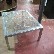 Sale! vintage mid century modern brushed chrome coffee table c. 1960 with c. 1880 leaded window inset – $195