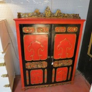 vintage antique Chinese red and gold carved cabinet c. 1900 – $695