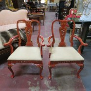 SALE! Vintage antique pair red painted arm chairs c. 1920 – $197 / pair