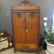 vintage antique Jacobean style walnut armoire c. 1920 – $395