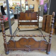 vintage antique Jacobean style walnut four poster queen / full size bed c. 1920 – $495