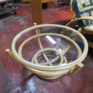 vintage mid century modern round rattan coffee table c. 1950 – $55