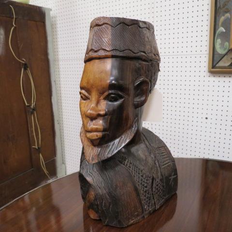 SALE! vintage antique carved bust of African man c. 1960 – $195