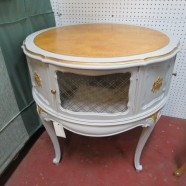 SALE! vintage antique French style painted round leather top side table c. 1940 – now $280, originally $420