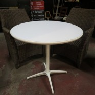 vintage mid century modern white steel small round dining table c. 1960 – $125