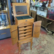 SALE! vintage oak jewelry cabinet – $120