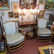 pair vintage antique country French walnut arm chairs c. 1940 – $229