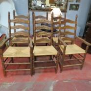 vintage antique set of six oak ladder back dining chairs c. 1930 – $295 / set