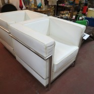 two vintage mid century modern Le Corbusier style white leather and chrome club chairs c. 1970 – $350 / each