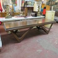 vintage mid century modern walnut coffee table c. 1960 – $250
