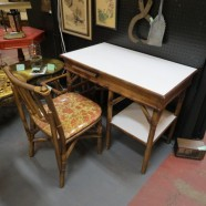 Sale! vintage mid century modern rattan desk and chair c. 1960 – $125