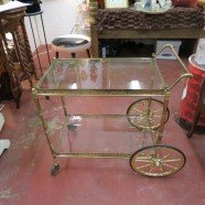 vintage mid century modern brass and glass bar cart c. 1960 – $265