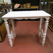 vintage antique white painted small table c. 1930 – $49