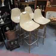 vintage mid century modern set of four fiberglass bar stools c. 1970 – $225 / set