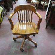 vintage oak office desk arm chair – two available – $125 / each