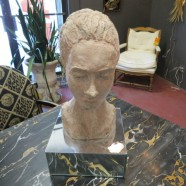 SALE! Vintage artist clay bust of woman on stand – $175