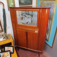 vintage mid century modern art deco style corner bar cabinet c. 1960 – $329
