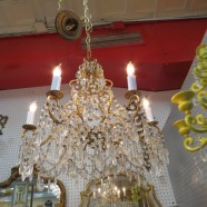 vintage antique crystal and brass six arm chandelier c. 1930 – $295