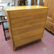 vintage mid century modern Russel Wright chest of drawers with secretary c. 1960 – $595