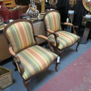 pair vintage antique walnut French style arm chairs c. 1970 – $699 / pair