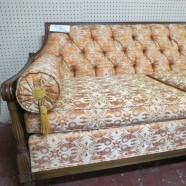 Sale! Vintage mid-century modern tufted back walnut sofa – $625