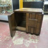 Vintage mid-century modern Lane walnut brutalist side cabinet – $65