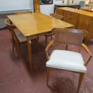 Vintage mid century modern dining table, 4 chairs, c. 1960 – $695