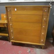 Vintage mid century modern blonde walnut credenza/dresser, c. 1960 – $495