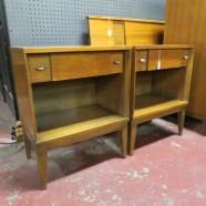 Vintage mid century modern blonde pair of nightstands/side tables, c. 1960 – $195