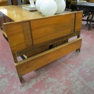 Vintage mid century modern blonde walnut full sized bed, c. 1960 – $295