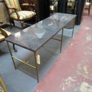 Vintage mid century modern granite top gilt bamboo coffee table/bench, c. 1960 – $495