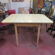 Vintage mid century modern blonde dining table, c. 1960 – $109