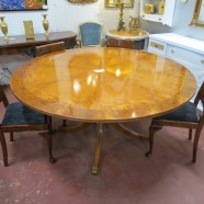 vintage antique exotic wood round dining table c. 1930 – $1400