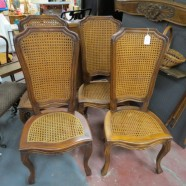 vintage antique set of four Italian walnut and cane chairs c. 1960 – $225/ set