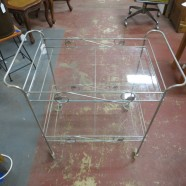 Sale! vintage mid century modern silver metal two tier bar cart c. 1950 – $60