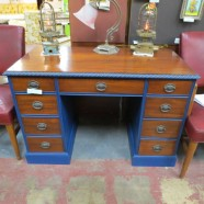 vintage antique mahogany desk with painted trim c. 1940 – $325
