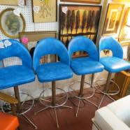 vintage mid century modern set of four turquoise bar stools c. 1970 – $250 / set