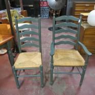 vintage set of 8 Italian rush seat ladder back chairs – $395