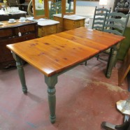 vintage pine top dining table – $295