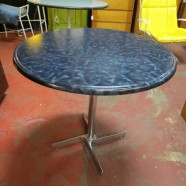 vintage mid century modern French round pedestal dining table – $195