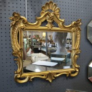Vintage gold carved small mirror – $125