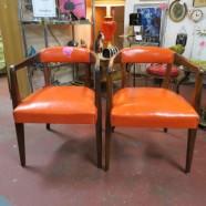 Vintage mid century modern pair of orange arm chairs c.1960 – $250