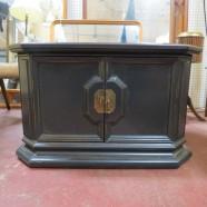 Vintage painted wood coffee table cabinet – $98