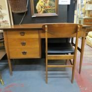 Vintage mid century modern walnut desk and chair c. 1960 – $395