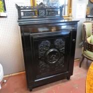 Vintage antique black lacquered Victorian cabinet c.1870 – $720
